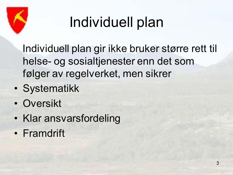 Individuell plan Individuell plan gir ikke bruker større rett til helse- og sosialtjenester enn det som følger av regelverket, men sikrer.