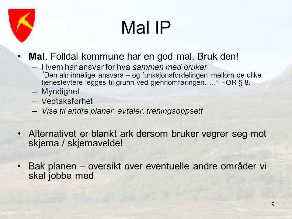 Mal IP Mal. Folldal kommune har en god mal. Bruk den!