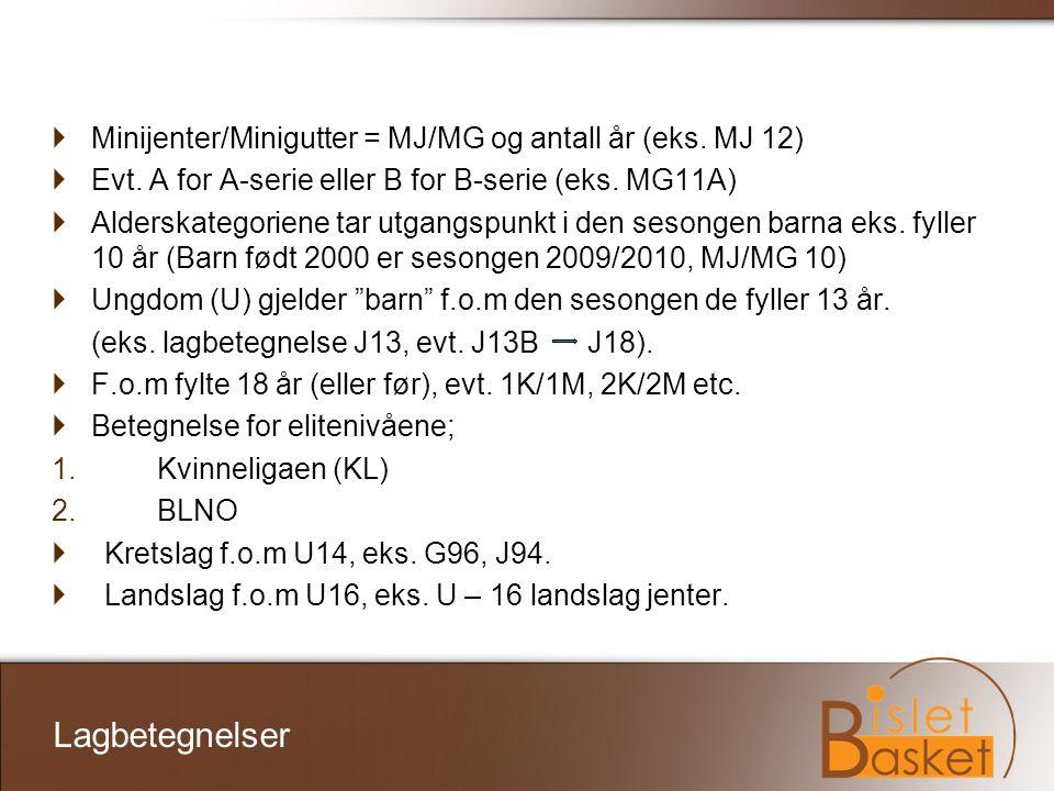 Lagbetegnelser Minijenter/Minigutter = MJ/MG og antall år (eks. MJ 12)