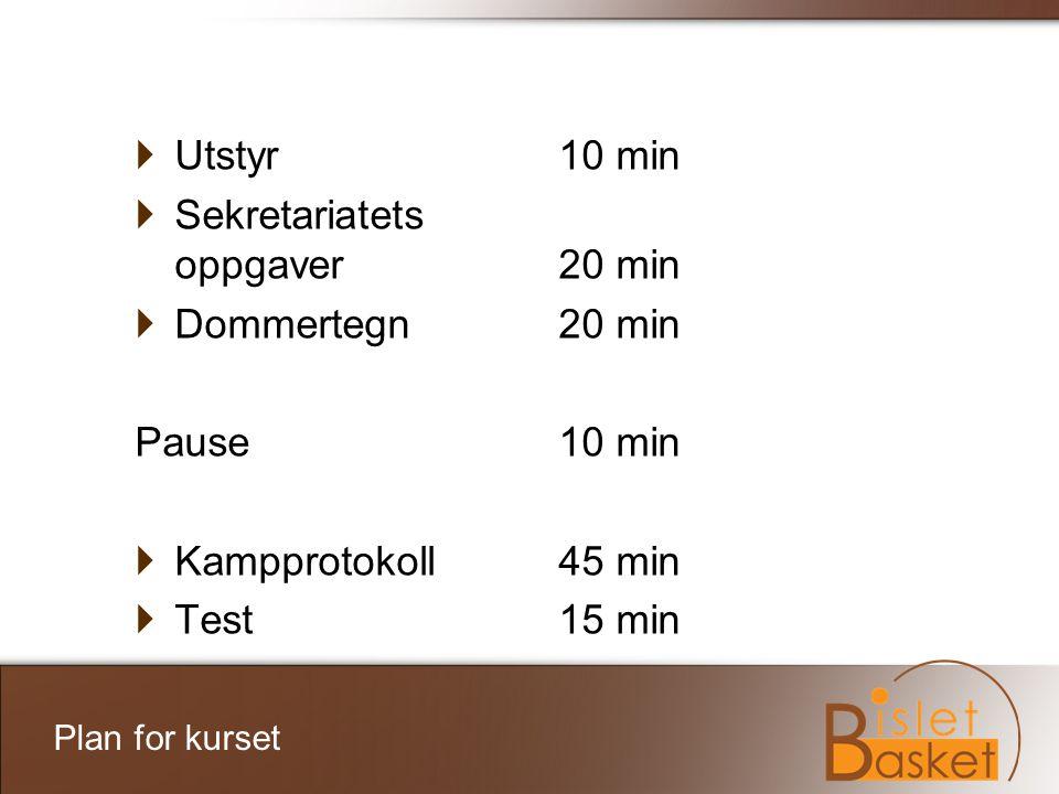 Sekretariatets oppgaver 20 min Dommertegn 20 min Pause 10 min