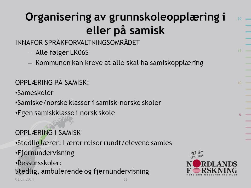 Organisering av grunnskoleopplæring i eller på samisk
