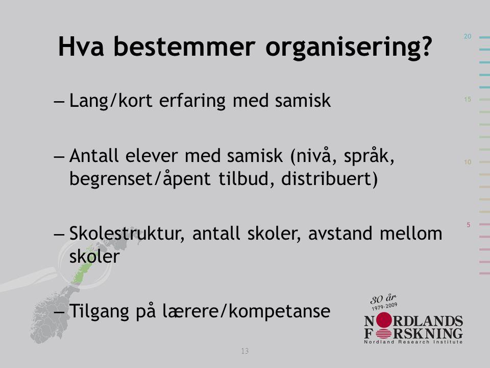 Hva bestemmer organisering