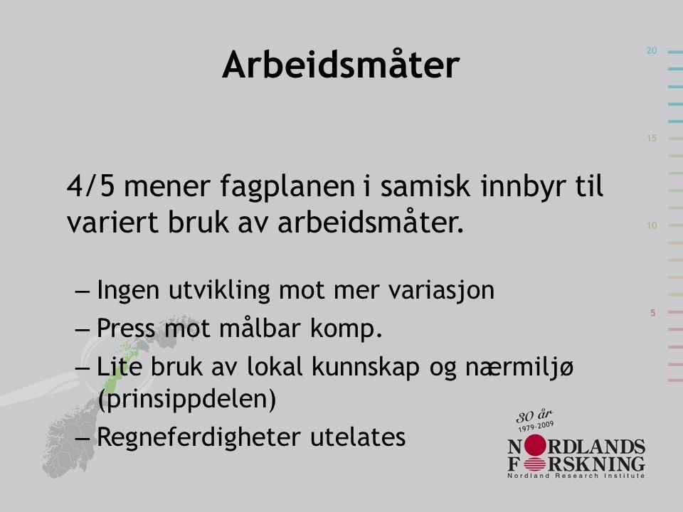 Arbeidsmåter 4/5 mener fagplanen i samisk innbyr til variert bruk av arbeidsmåter. Ingen utvikling mot mer variasjon.