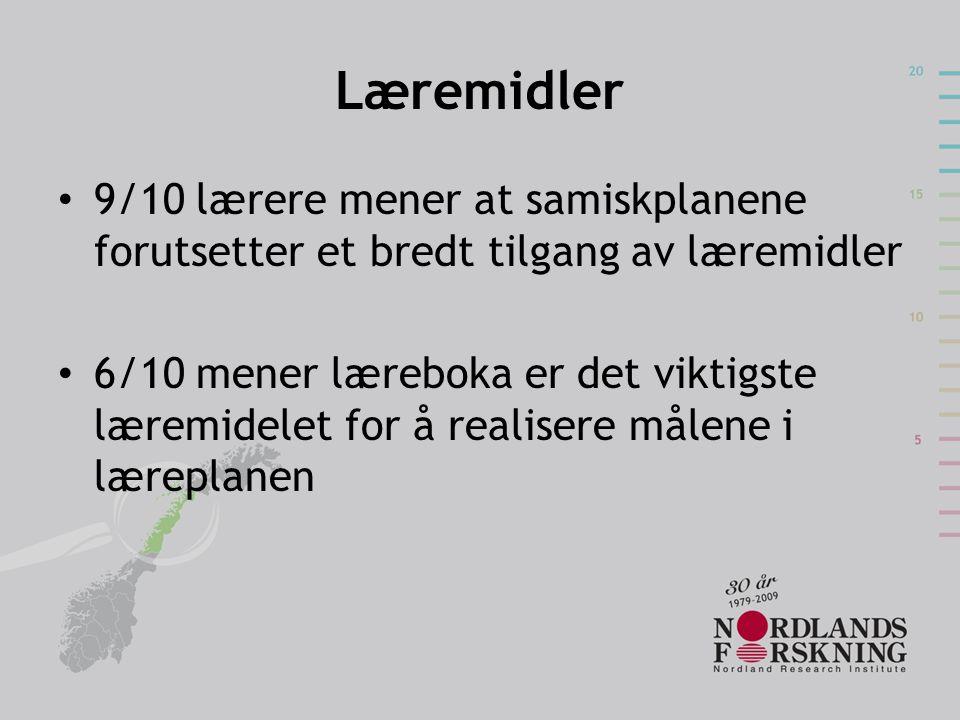 Læremidler 9/10 lærere mener at samiskplanene forutsetter et bredt tilgang av læremidler.