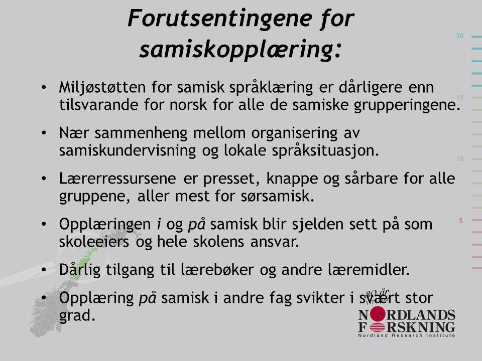 Forutsentingene for samiskopplæring:
