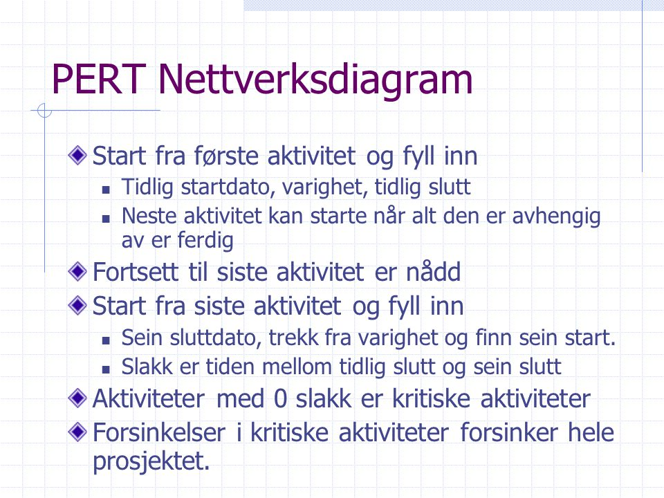 PERT Nettverksdiagram