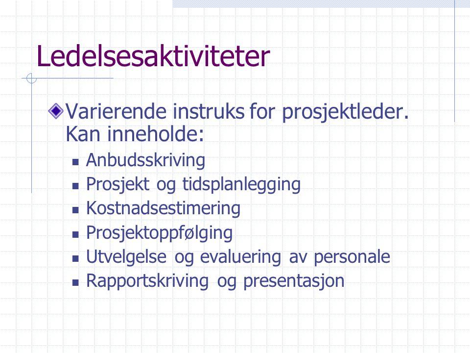 Ledelsesaktiviteter Varierende instruks for prosjektleder. Kan inneholde: Anbudsskriving. Prosjekt og tidsplanlegging.