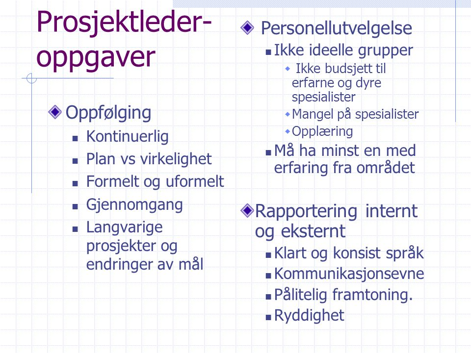 Prosjektleder- oppgaver
