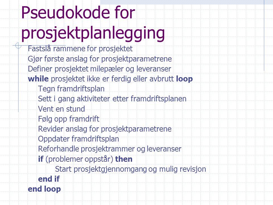 Pseudokode for prosjektplanlegging