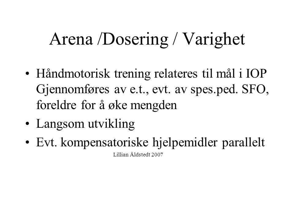 Arena /Dosering / Varighet
