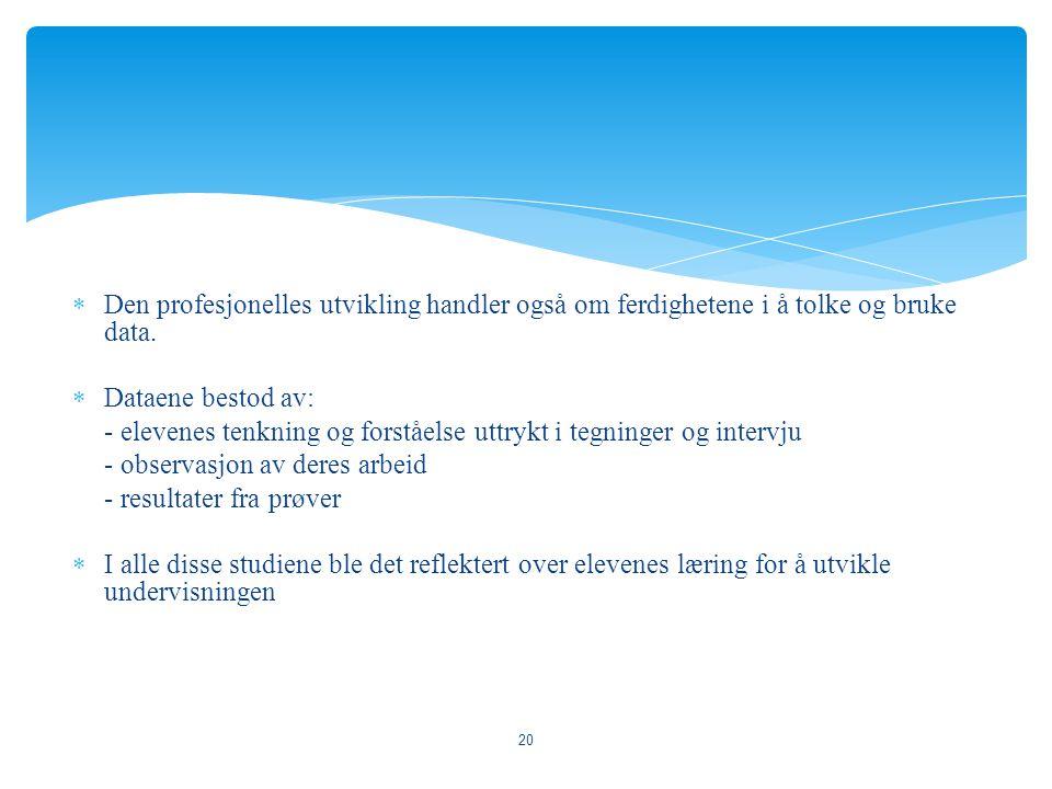 Den profesjonelles utvikling handler også om ferdighetene i å tolke og bruke data.