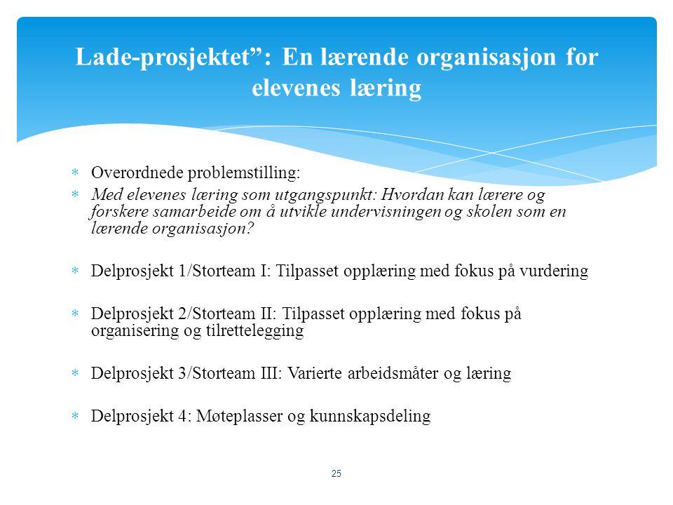 Lade-prosjektet : En lærende organisasjon for elevenes læring