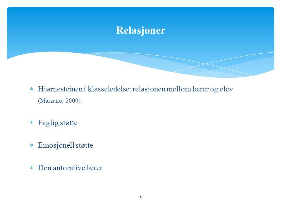 Relasjoner Hjørnesteinen i klasseledelse: relasjonen mellom lærer og elev. (Marzano, 2009). Faglig støtte.