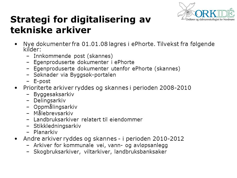 Strategi for digitalisering av tekniske arkiver