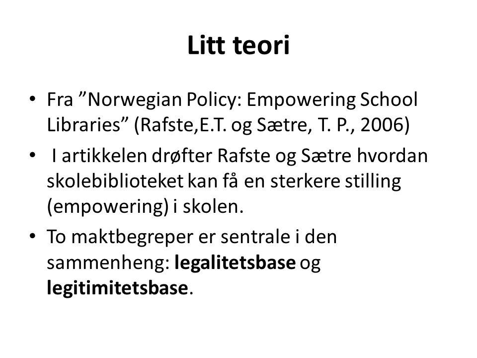 Litt teori Fra Norwegian Policy: Empowering School Libraries (Rafste,E.T. og Sætre, T. P., 2006)