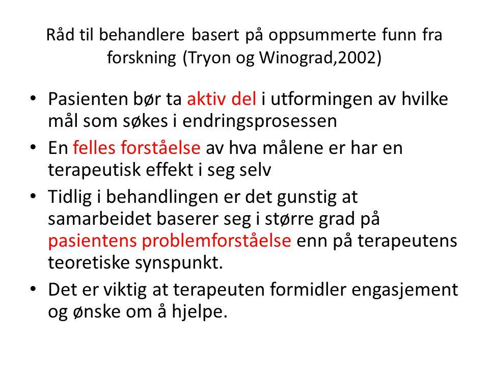 Råd til behandlere basert på oppsummerte funn fra forskning (Tryon og Winograd,2002)