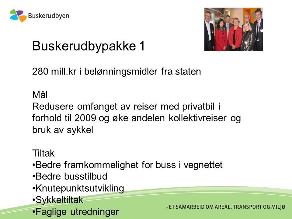 Buskerudbypakke 1 280 mill.kr i belønningsmidler fra staten Mål