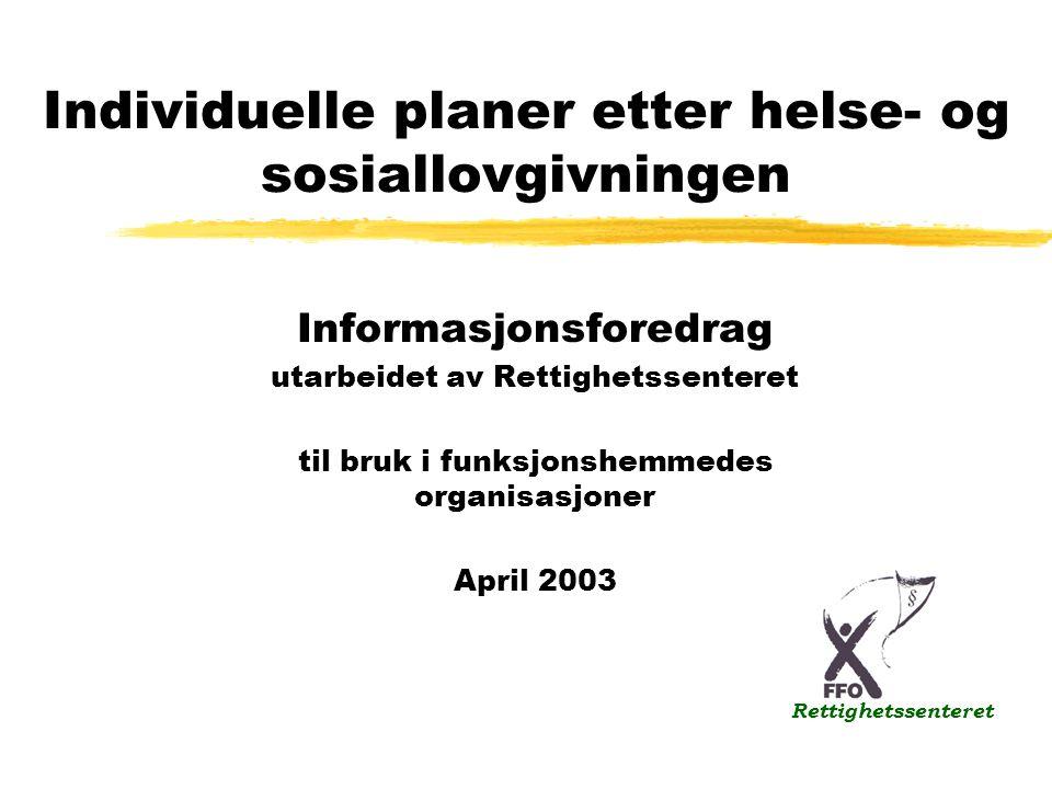 Individuelle planer etter helse- og sosiallovgivningen