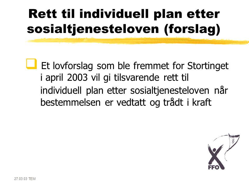 Rett til individuell plan etter sosialtjenesteloven (forslag)