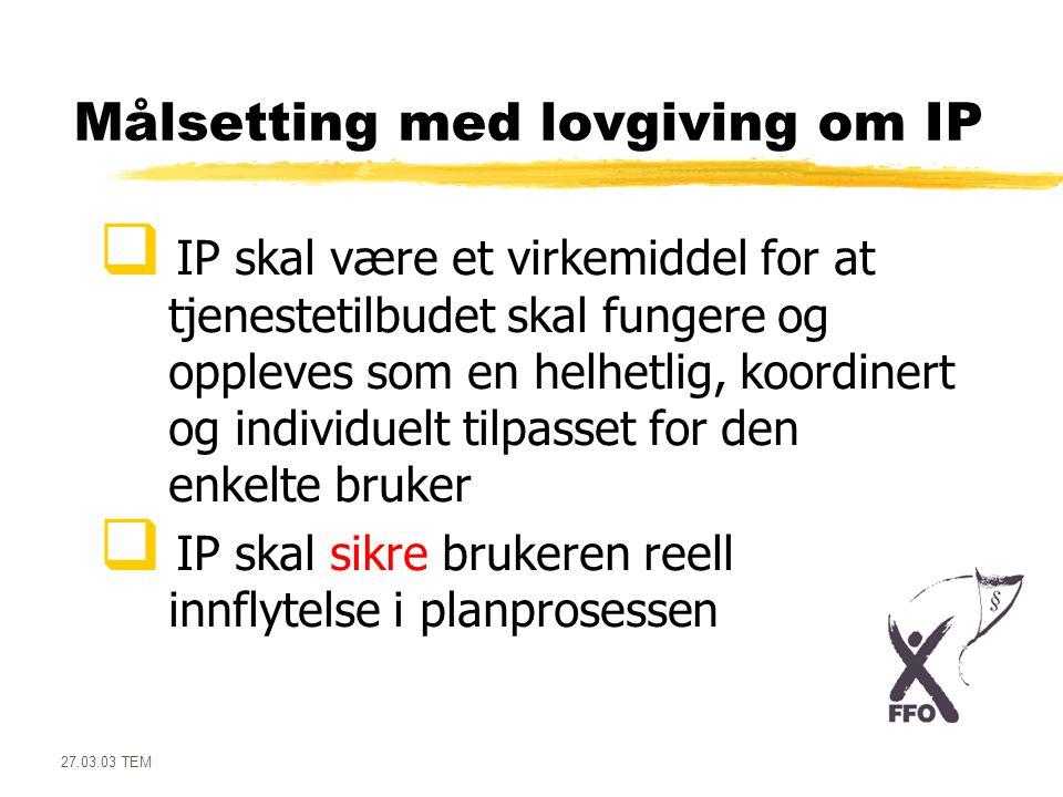 Målsetting med lovgiving om IP