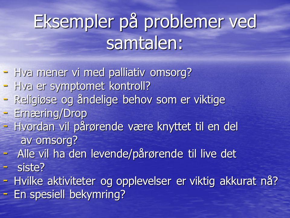 Eksempler på problemer ved samtalen: