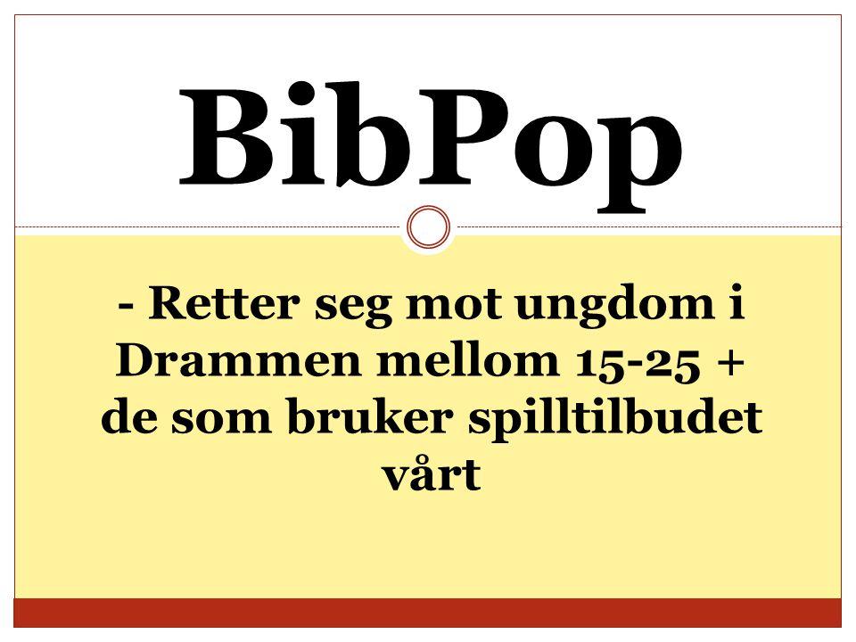 BibPop - Retter seg mot ungdom i Drammen mellom 15-25 + de som bruker spilltilbudet vårt