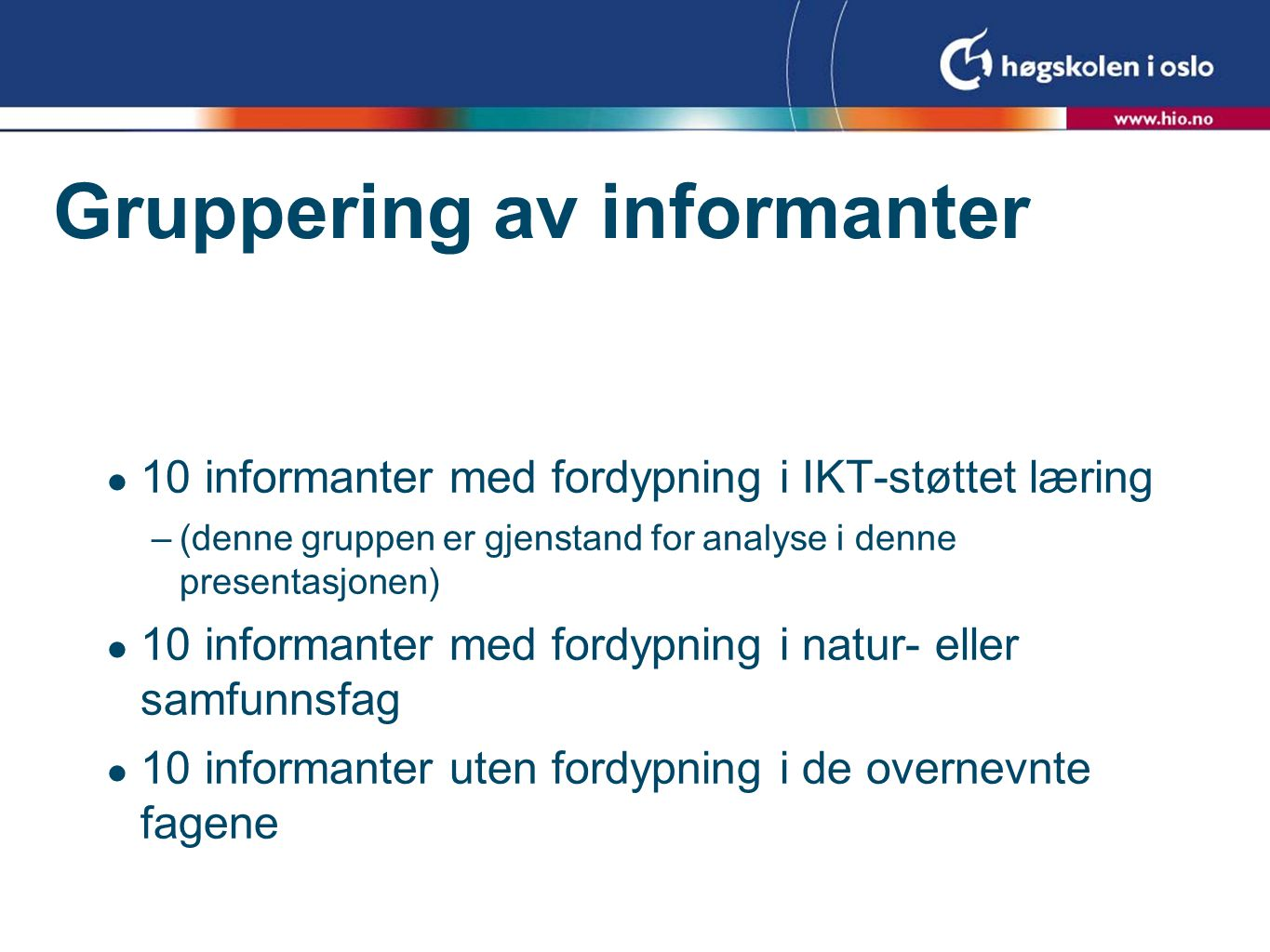 Gruppering av informanter