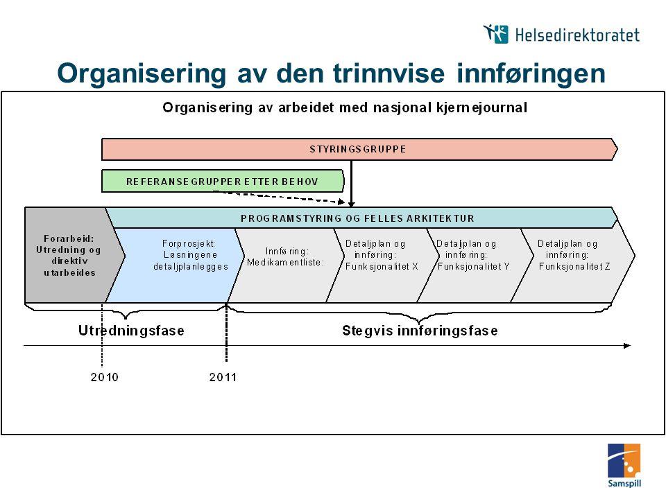 Organisering av den trinnvise innføringen