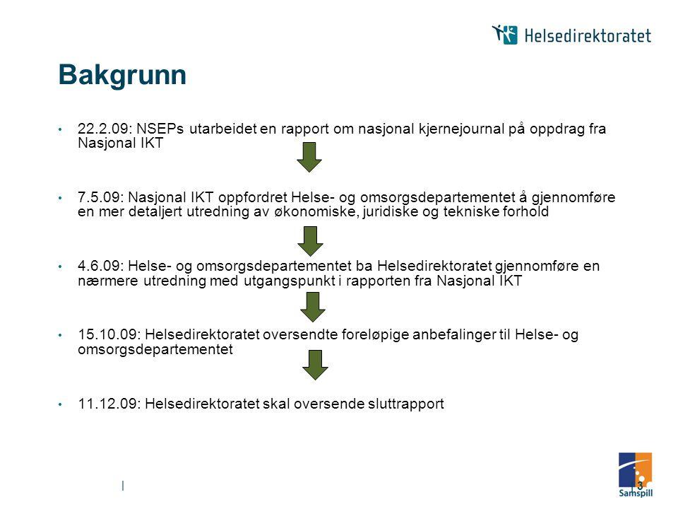 Bakgrunn 22.2.09: NSEPs utarbeidet en rapport om nasjonal kjernejournal på oppdrag fra Nasjonal IKT.