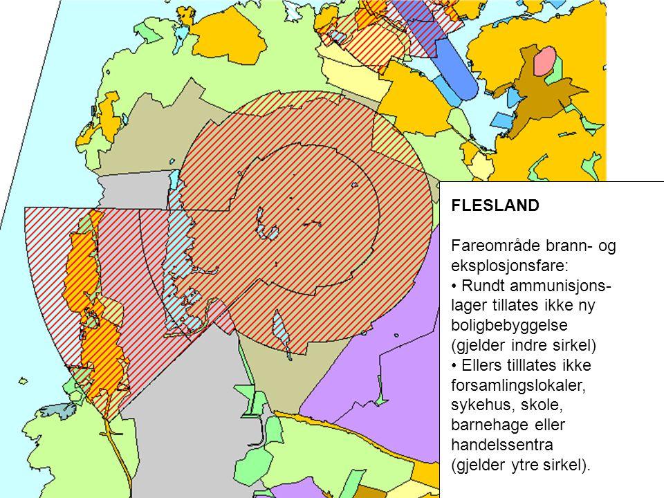 FLESLAND Fareområde brann- og eksplosjonsfare: Rundt ammunisjons-lager tillates ikke ny boligbebyggelse.