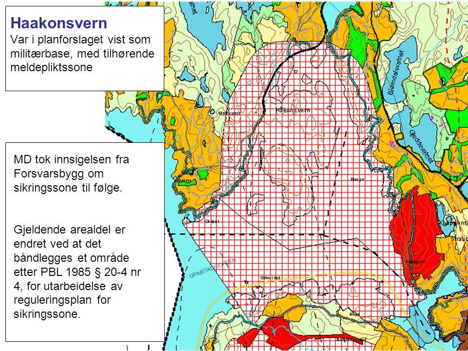 Haakonsvern Var i planforslaget vist som militærbase, med tilhørende meldepliktssone