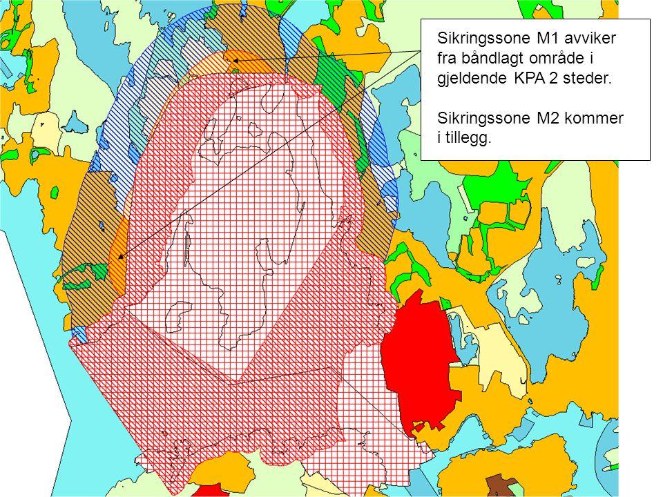 Sikringssone M1 avviker fra båndlagt område i gjeldende KPA 2 steder.