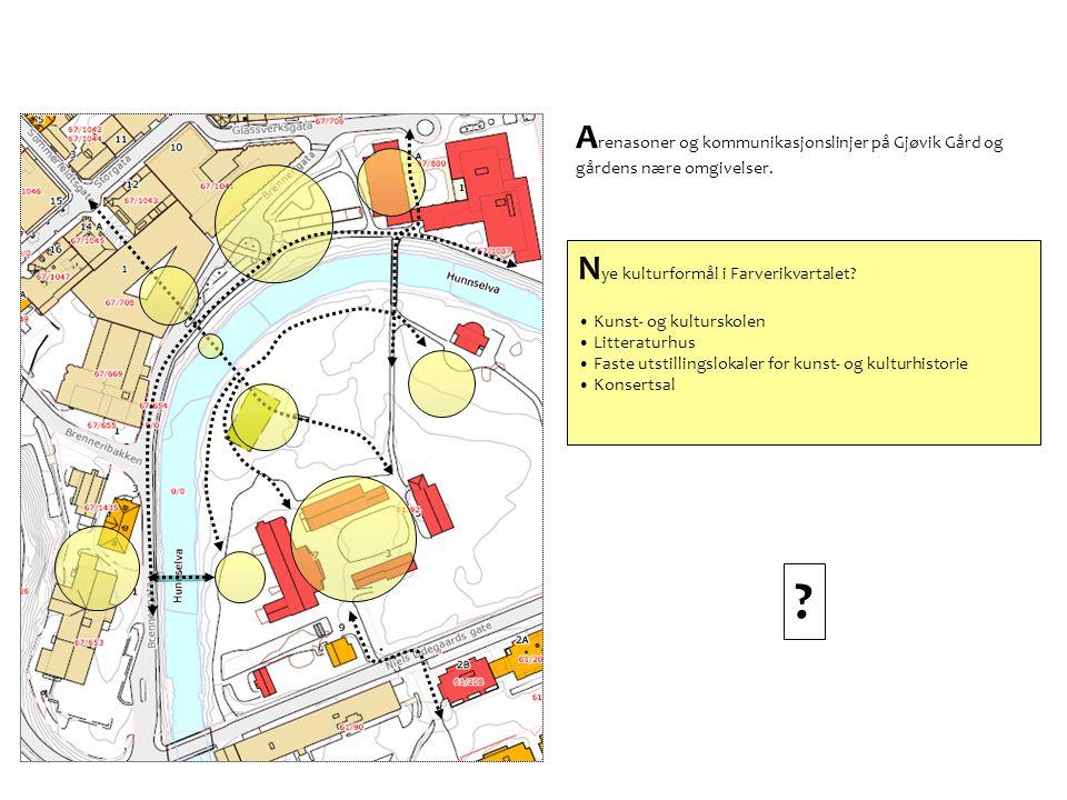 Arenasoner og kommunikasjonslinjer på Gjøvik Gård og gårdens nære omgivelser.