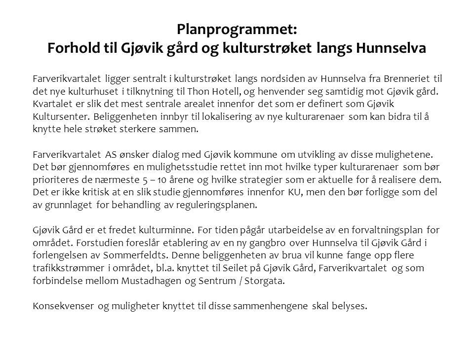 Planprogrammet: Forhold til Gjøvik gård og kulturstrøket langs Hunnselva
