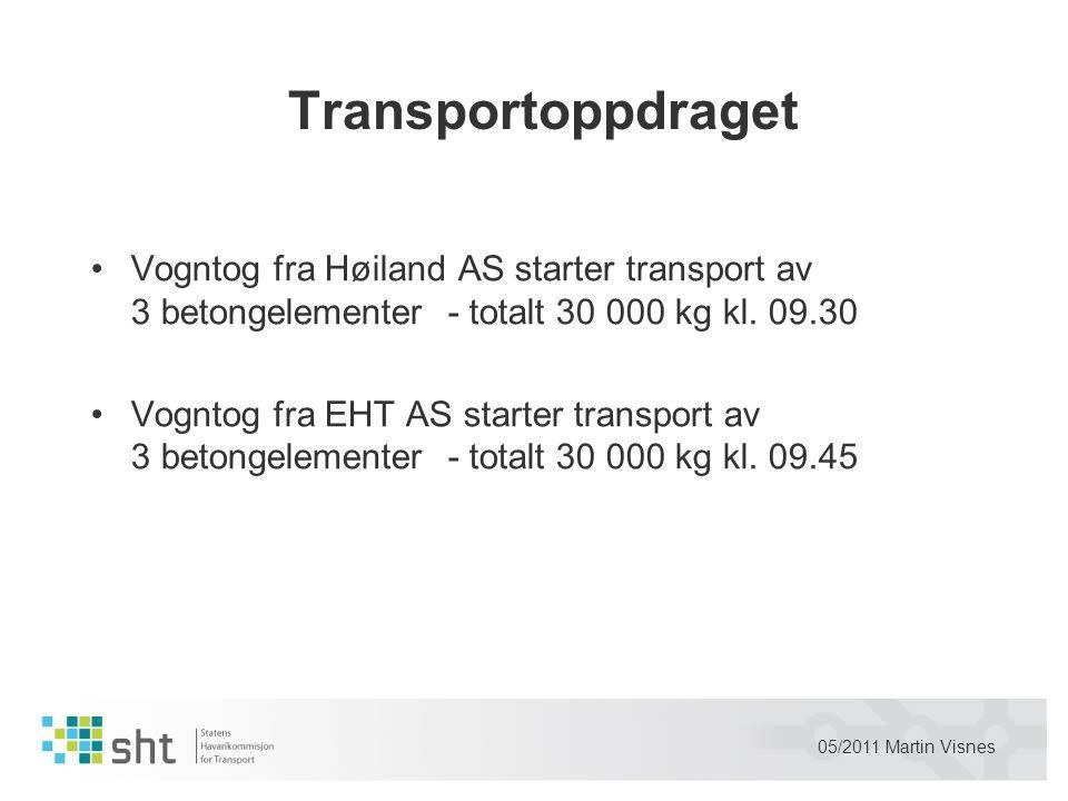 Transportoppdraget Vogntog fra Høiland AS starter transport av 3 betongelementer - totalt 30 000 kg kl. 09.30.