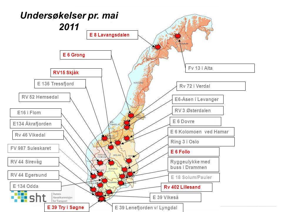 Undersøkelser pr. mai 2011 E 8 Lavangsdalen E 6 Grong Fv 13 i Alta