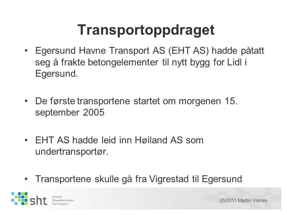 Transportoppdraget Egersund Havne Transport AS (EHT AS) hadde påtatt seg å frakte betongelementer til nytt bygg for Lidl i Egersund.