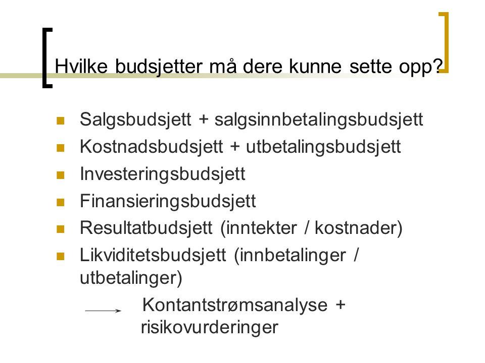 Hvilke budsjetter må dere kunne sette opp