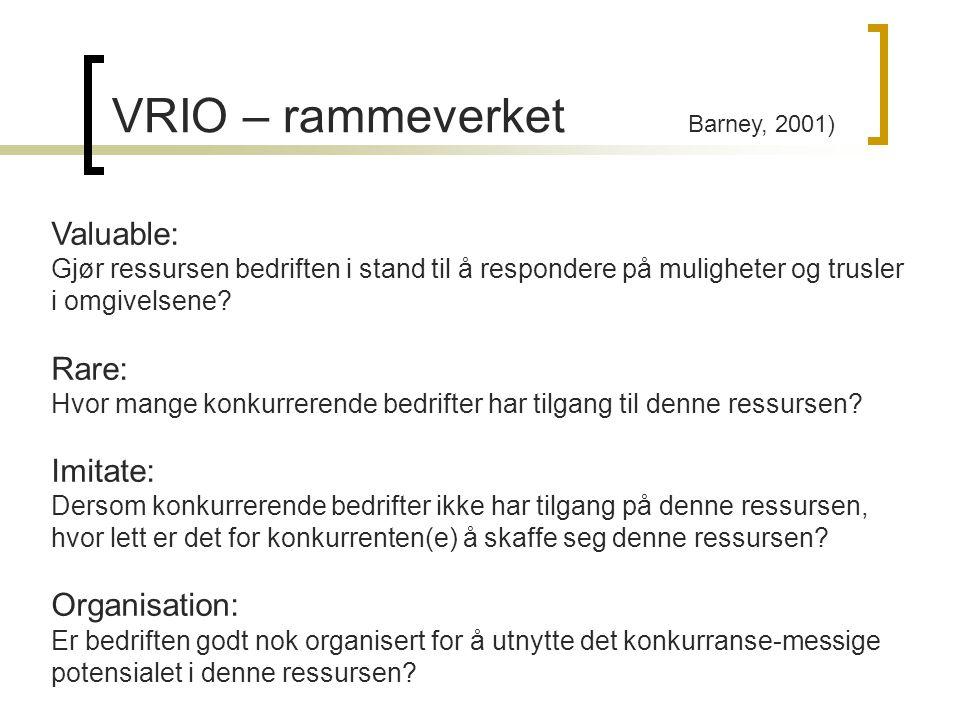 VRIO – rammeverket Barney, 2001)
