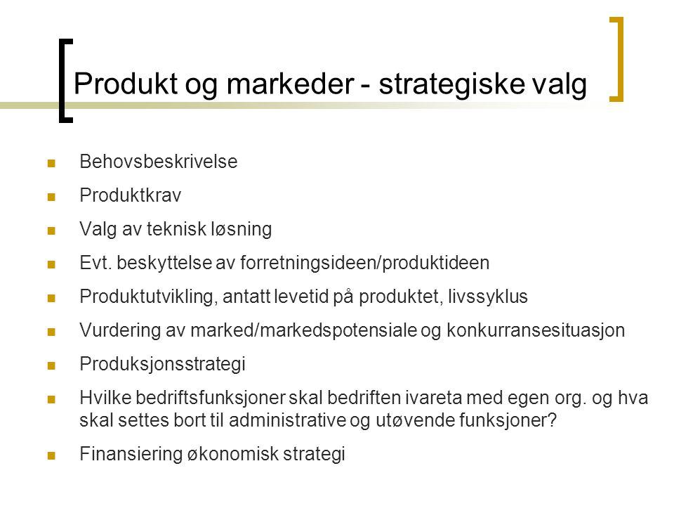 Produkt og markeder - strategiske valg