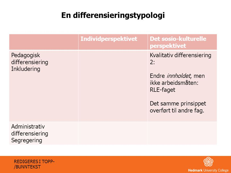 En differensieringstypologi
