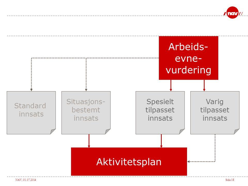 Arbeids- evne- vurdering Aktivitetsplan Standard innsats Situasjons-