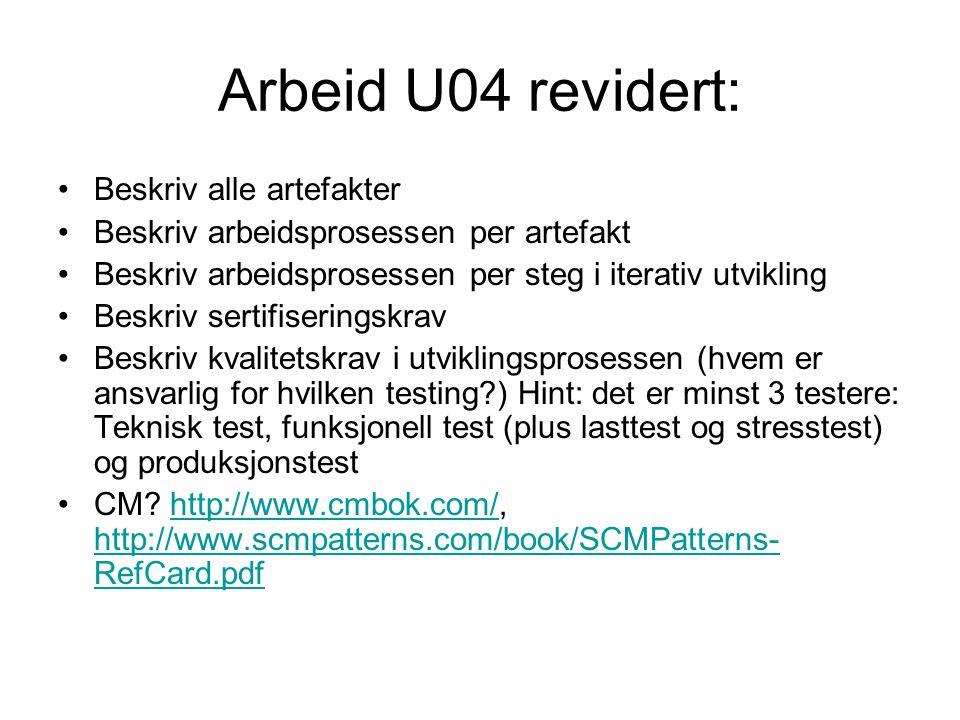 Arbeid U04 revidert: Beskriv alle artefakter