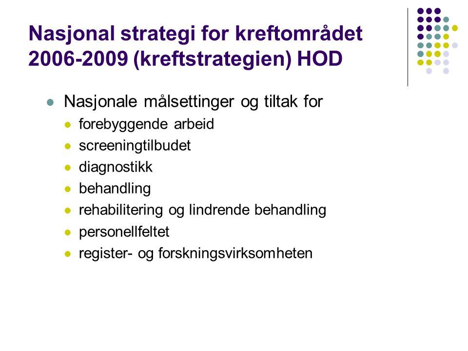 Nasjonal strategi for kreftområdet 2006-2009 (kreftstrategien) HOD