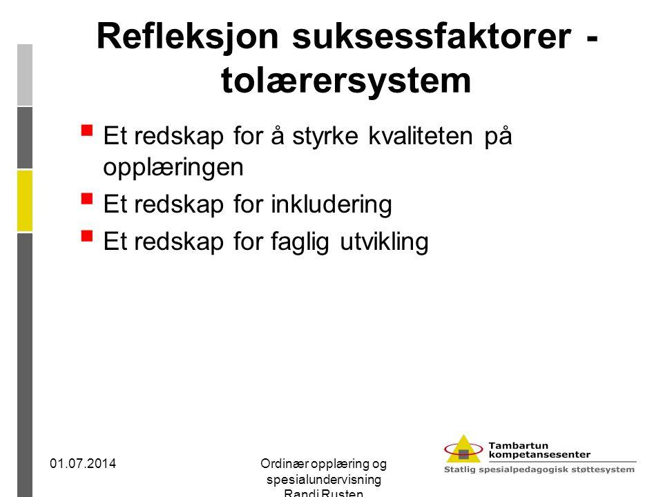 Refleksjon suksessfaktorer - tolærersystem