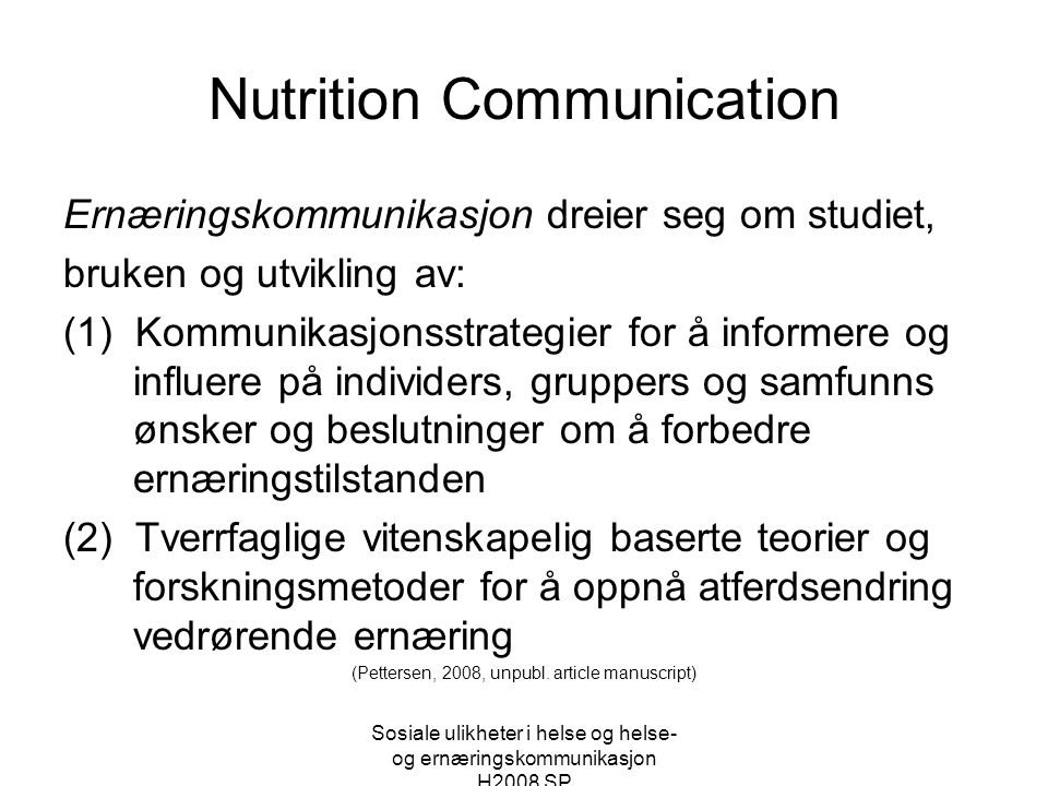 Nutrition Communication