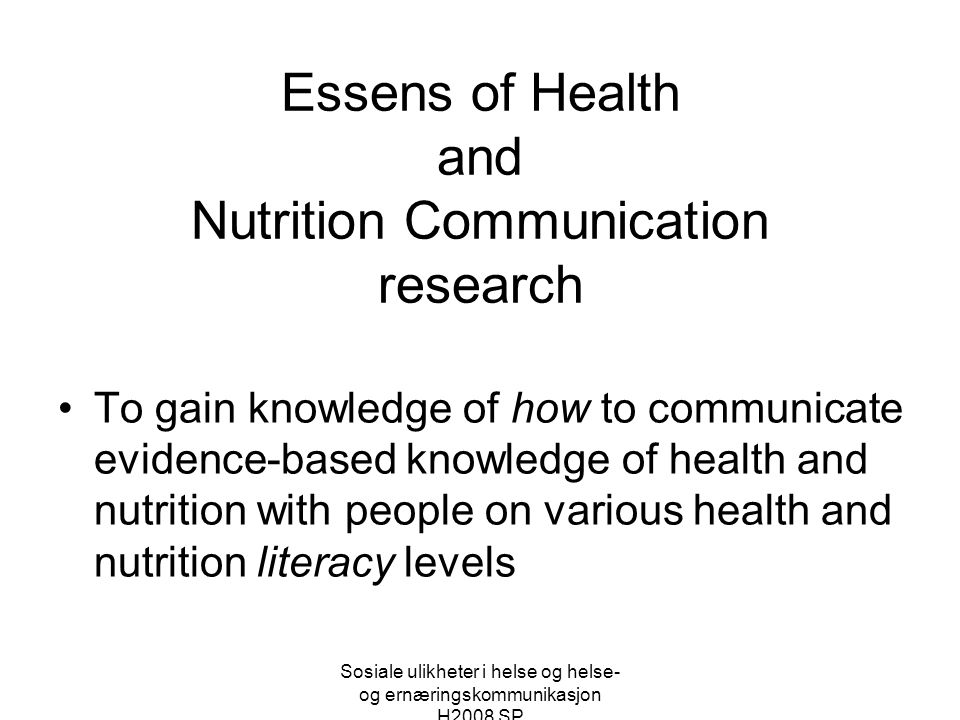Essens of Health and Nutrition Communication research