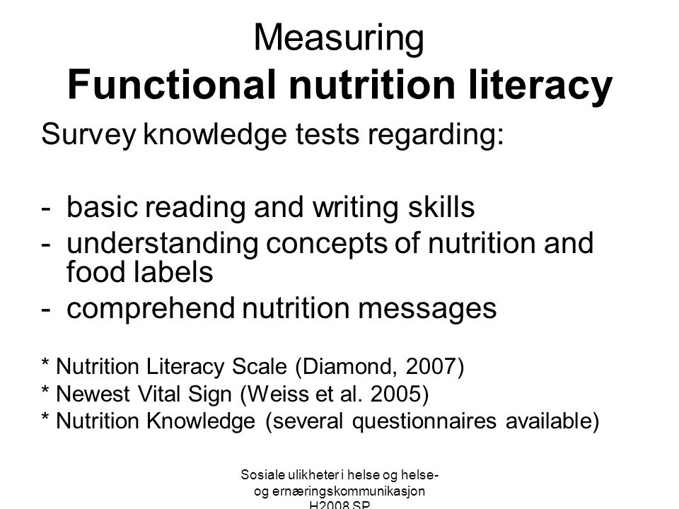 Measuring Functional nutrition literacy