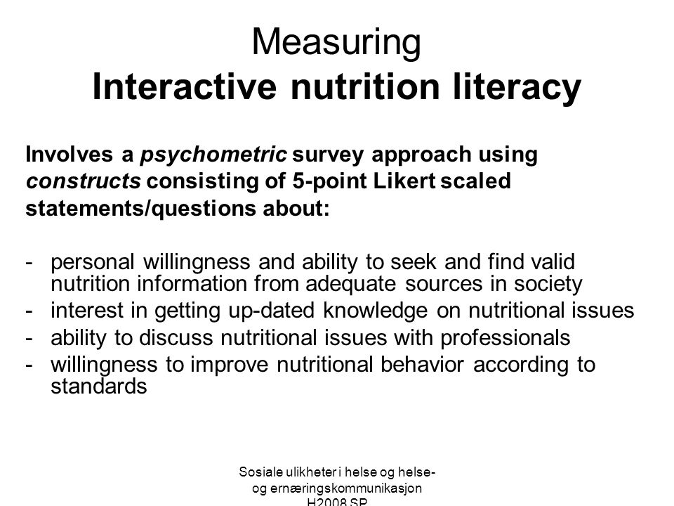 Measuring Interactive nutrition literacy