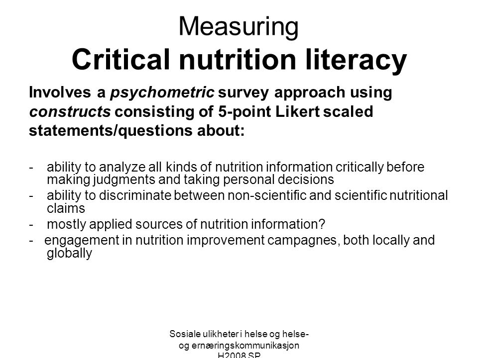Measuring Critical nutrition literacy